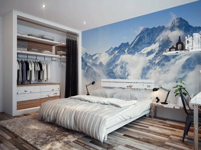 dekoideen schlafzimmer wanddeko schöner boden kleiderschrank