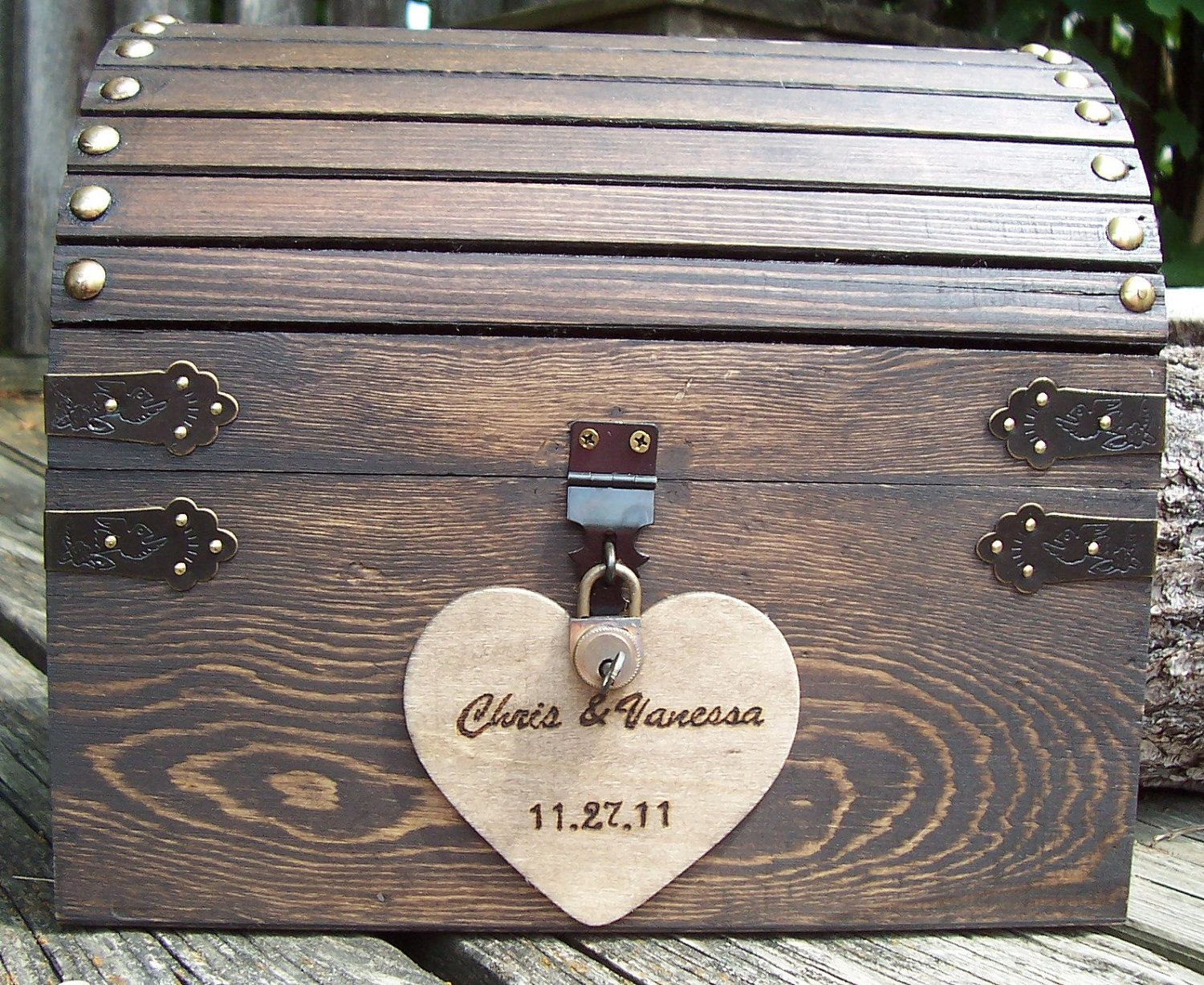 wood wedding card holders%0A Wedding Card Box  Stained Rustic Wood Fairytale Treasure Chest with CARD  SLOT  Antique