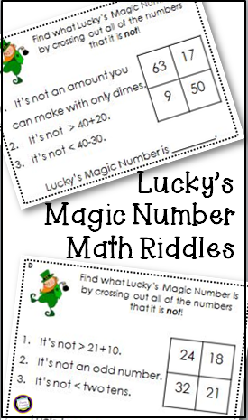St. Patrick's Day Math Riddle Task Cards for Two-Digit