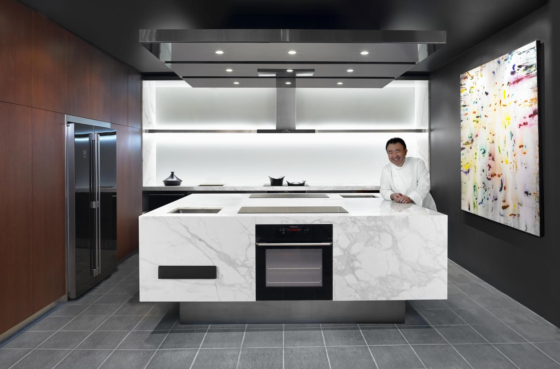 Grey Tile Flooring Exquisite Modern Minimalist Kitchen Design Marble ...