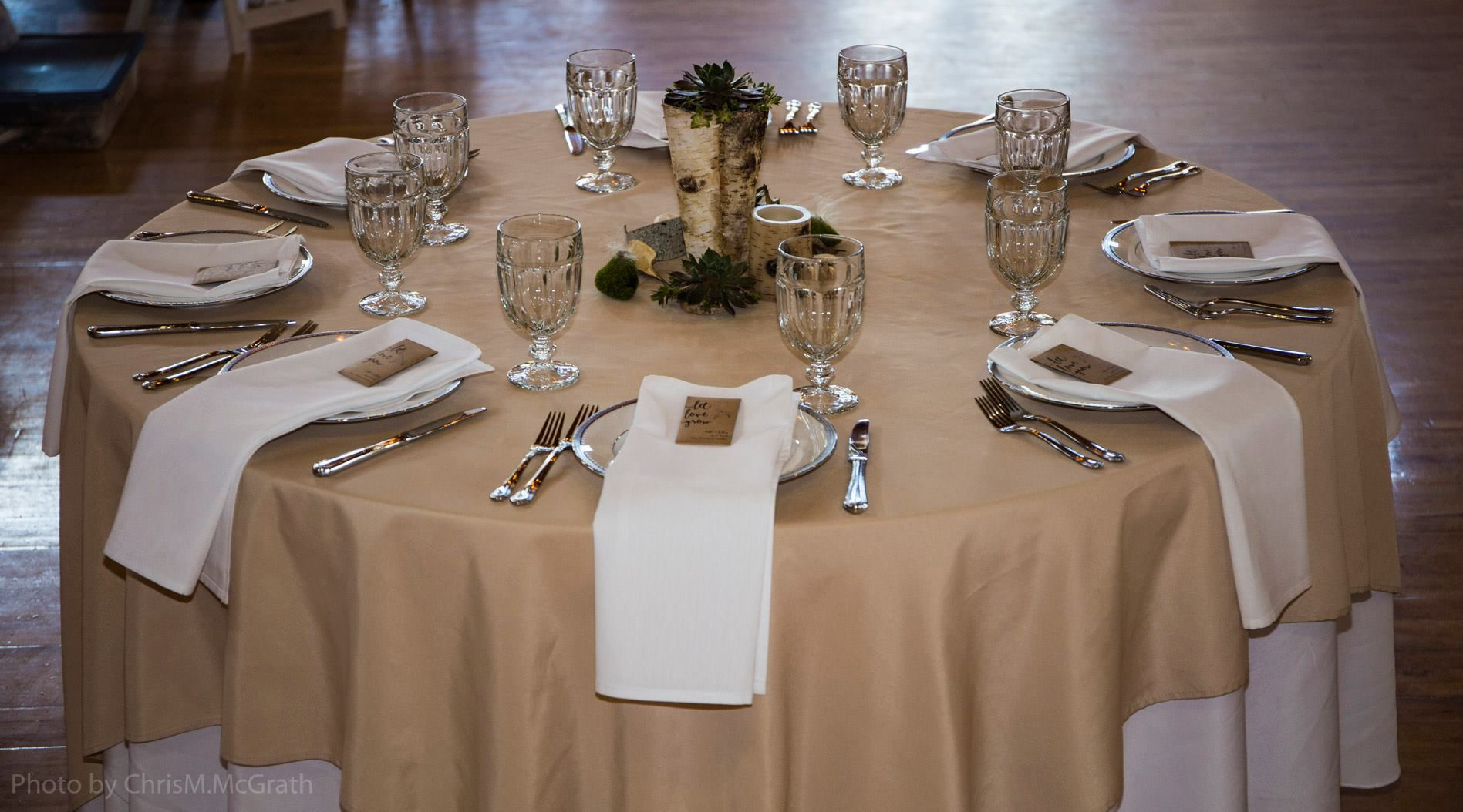 Outdoors themed table setting with our most versatile linen color