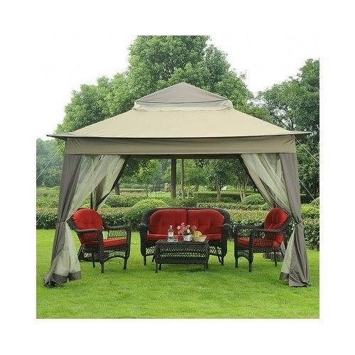 Patio Gazebo With Mosquito Netting Screened Outdoor Tuscany Canopy Portable  New #Sunjoy