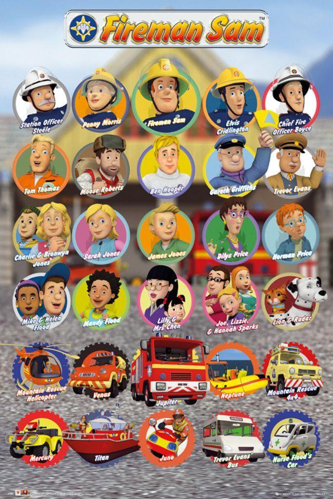 Fireman Sam Characters Official Poster Fireman Sam Fireman Firefighter Party