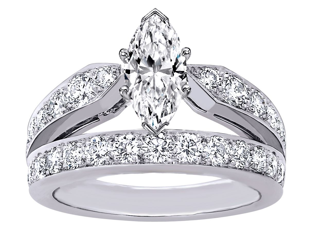 Marquise Cut Diamond Double Band Engagement Ring Wed Pinterest And Engagements