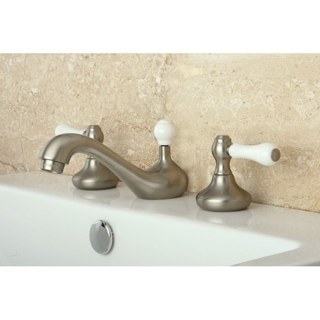 Photo of Widely used three-hole bath mixer made of satin nickel (solid lever), Kingston Brass