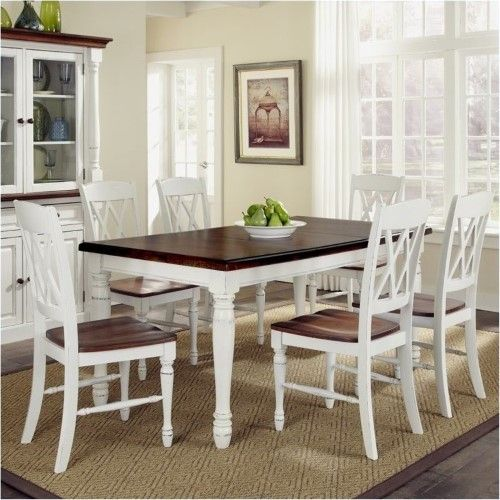 Bowery Hill 7 Piece Dining Set in White and Oak Home decor in 2018