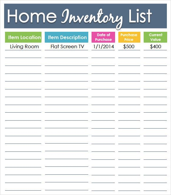 Home Inventory List Template Sample  Stationary