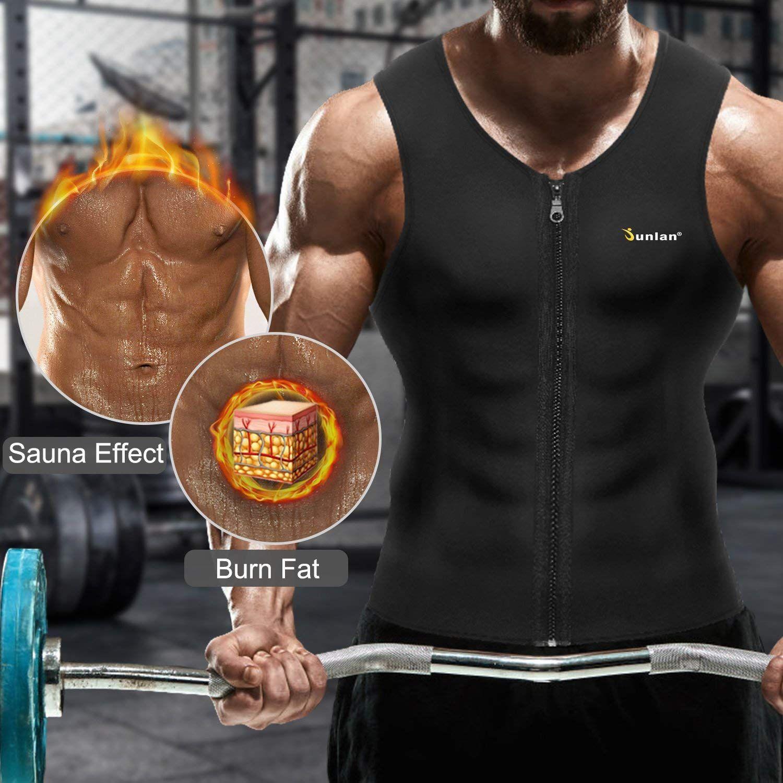 Men Sweat Neoprene Weight Loss Sauna Suit Workout Shirt Body Shaper Fitness Vest