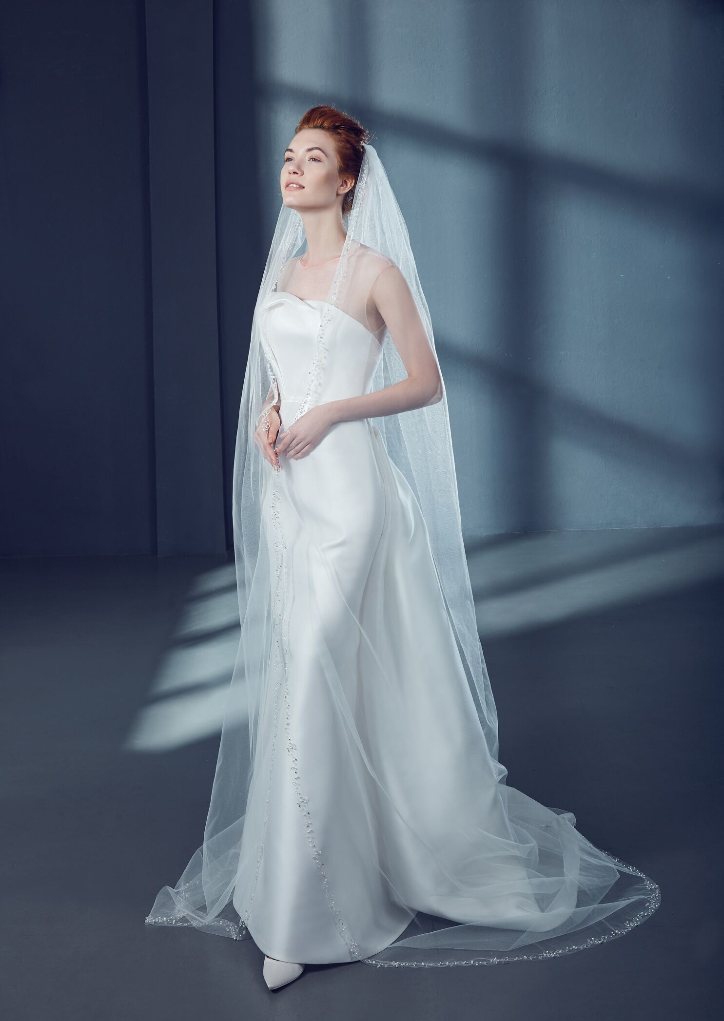 Stunning cathedral length veil in tulle with sparkle detail