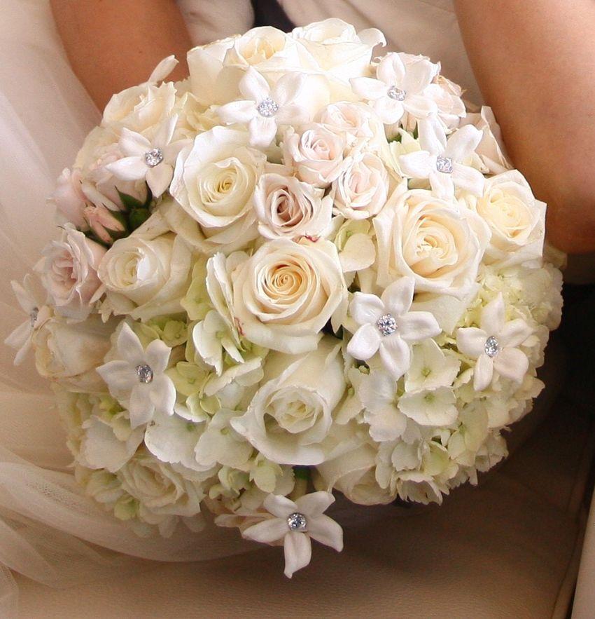 Bridal white rose bouquet stephanotis wedding wedding