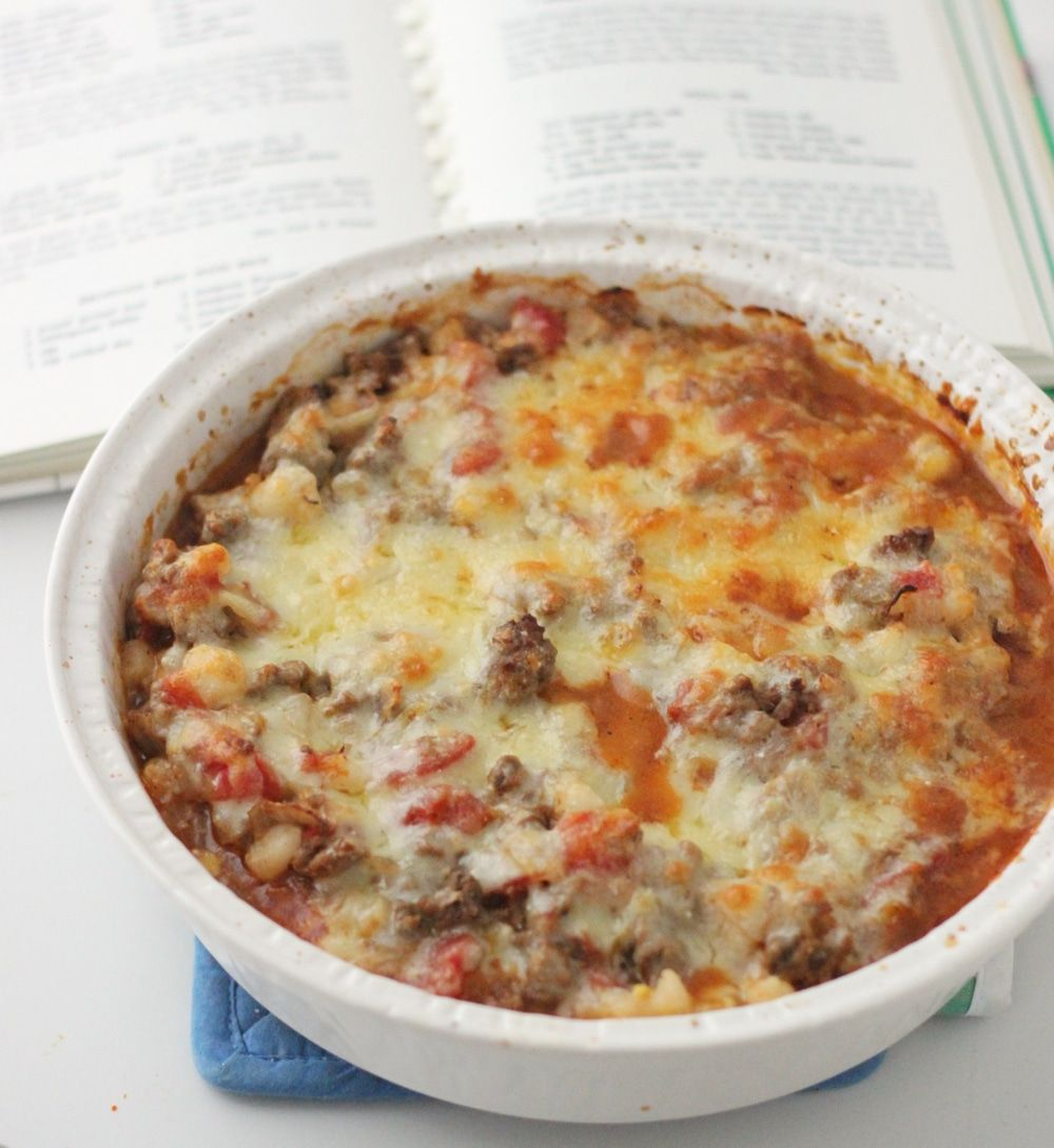Beef and Hominy Casserole #hominycasserole