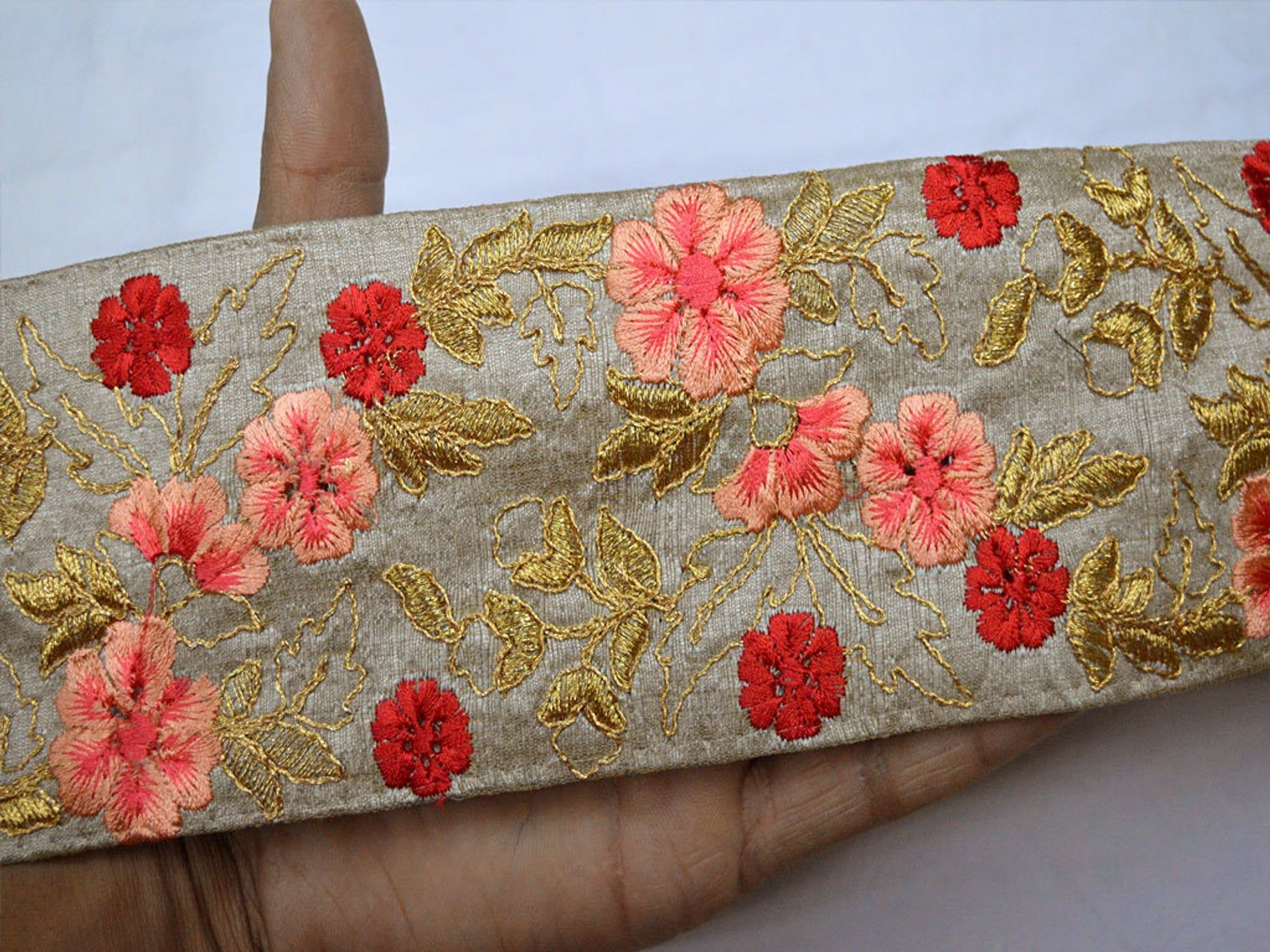 Ruban Soie Brodee Gros Galons Decoratifs Indian Sari