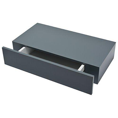 Duraline Floating Wall Shelf With Drawer Grey 100 X 48 25 Cm