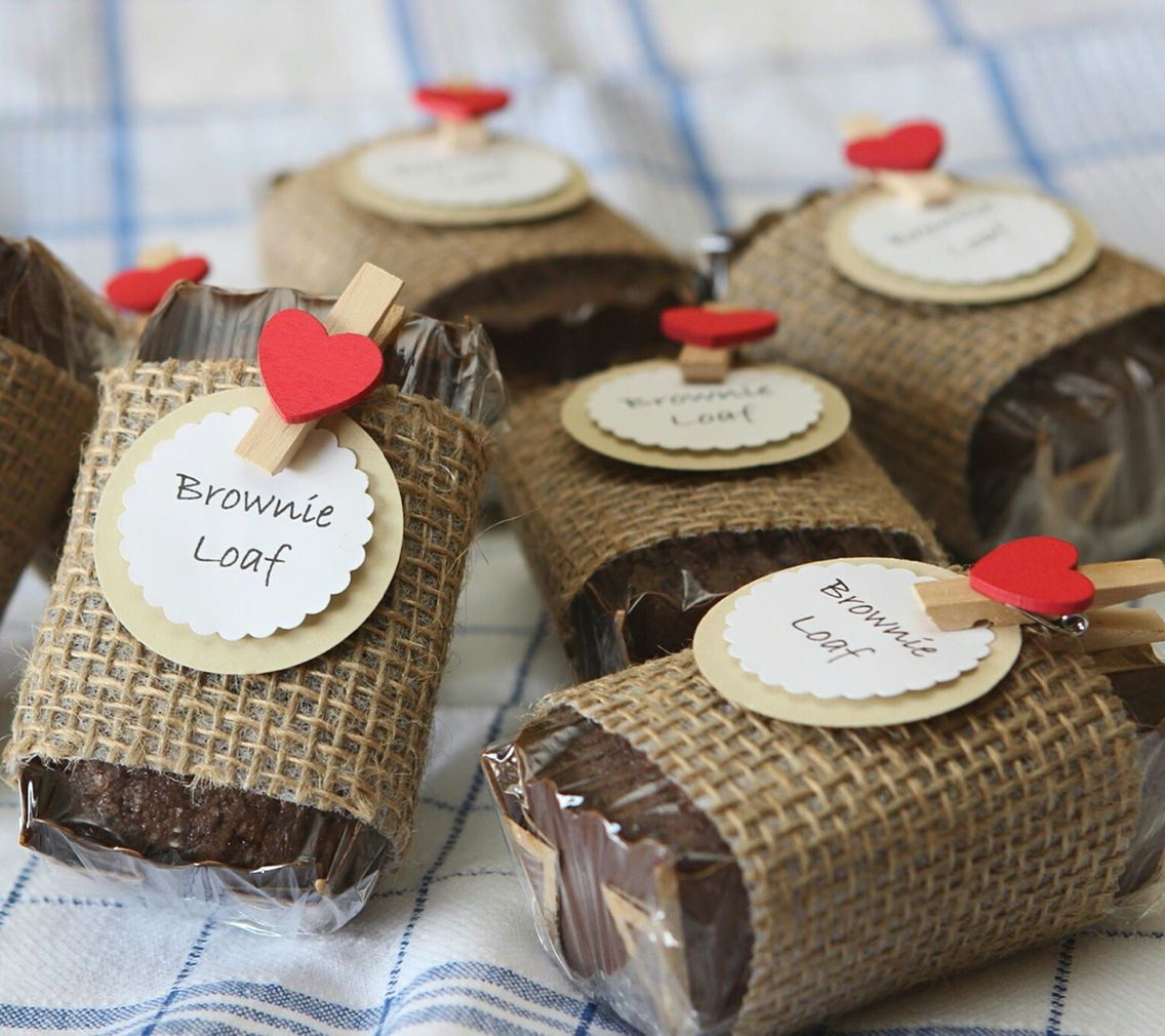 Brownie Loaves For Bake Sale. Wrapped In Burlap (from