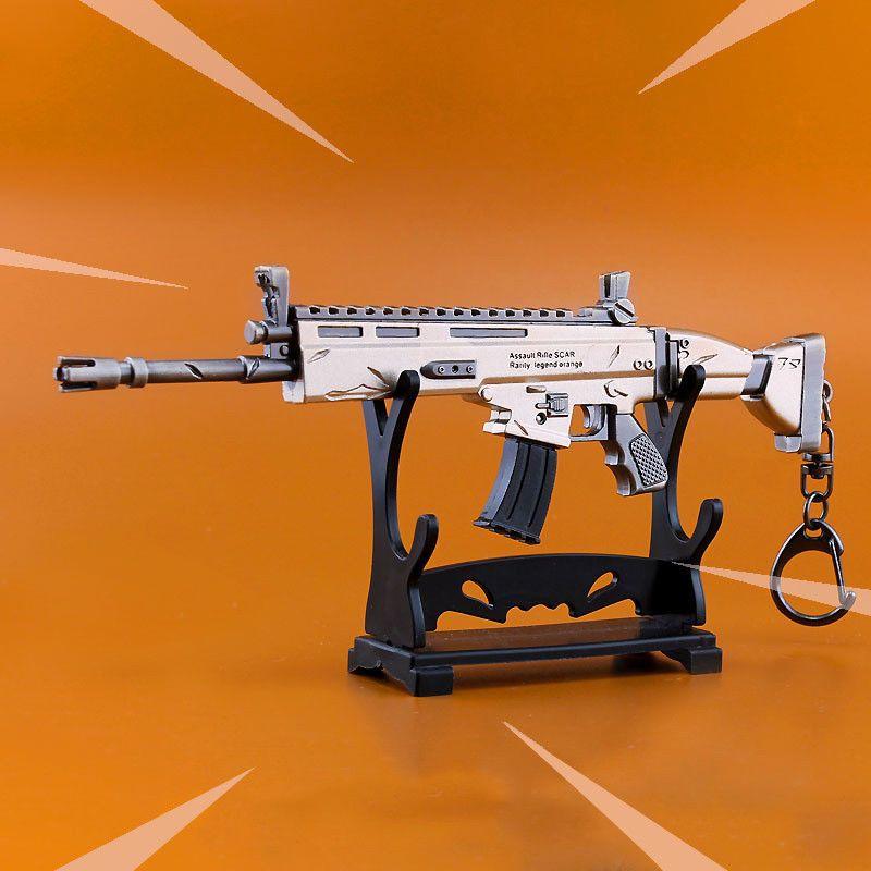 Battle Royale Gun Model Alloy Weapons Scar Collection Key chain Fortnite