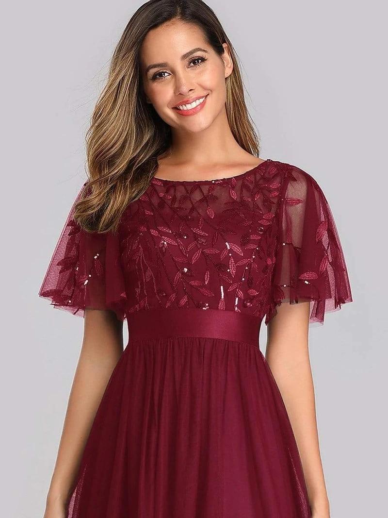 Women's A-Line Short Sleeve Sequin Leaf Maxi Prom Dress ...