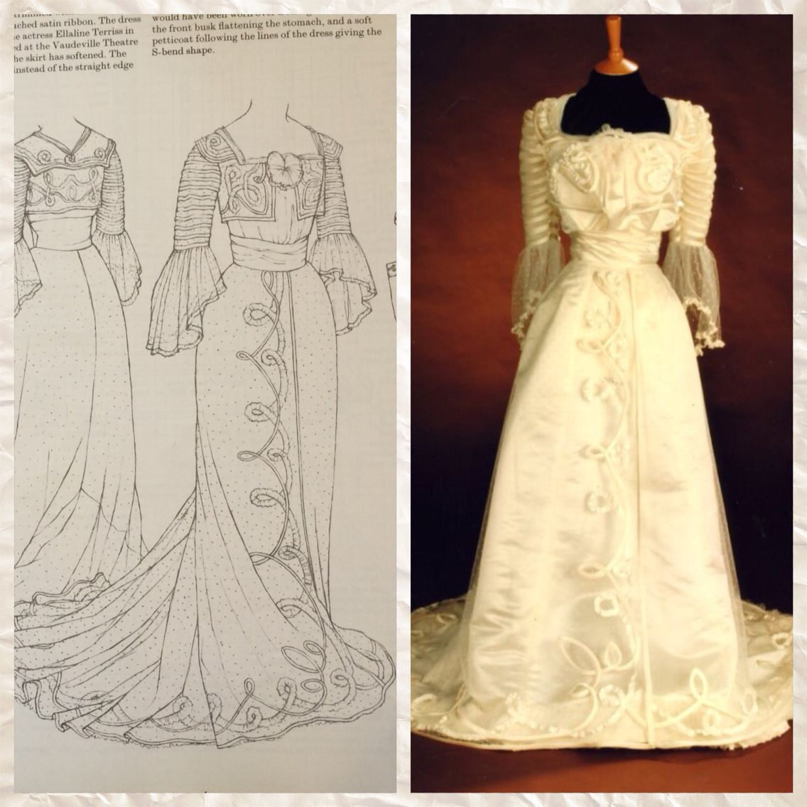 Vintage Wedding Dresses In London: 1901-02 Reception Gown In White Spotted Net Over Ivory