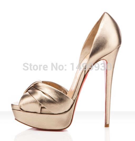 Women Light Gold Silk Mesh Peep Toe Stiletto Pumps Female Bow Knot ...