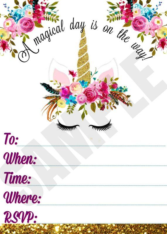 Unicorn Printable Invitation Floral Invite Watercolor invite