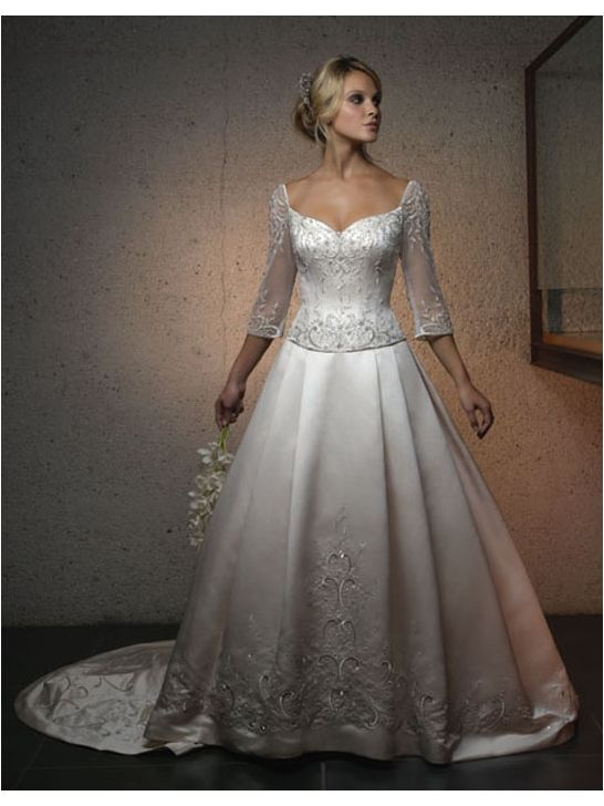 Silky Satin and Sheer Netting Sweetheart A-Line Wedding Dress with Chapel Train CB1826