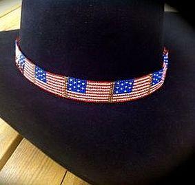 American Flag Cowboy Hat Band Www Clickincowgirls Com Beaded Hat Bands Beaded Hat Bands How To Make Cowboy Hat Bands