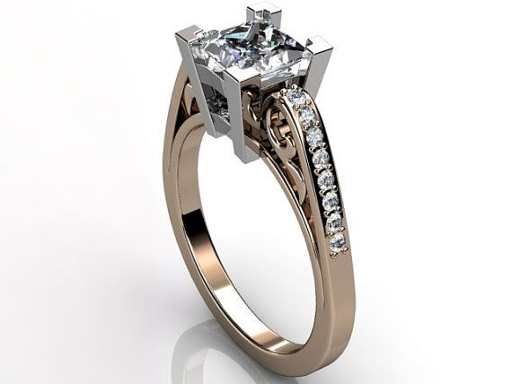 14k two tone rose and white gold diamond unusual unique floral engagement ring, bridal ring, wedding ring ER-1084-6
