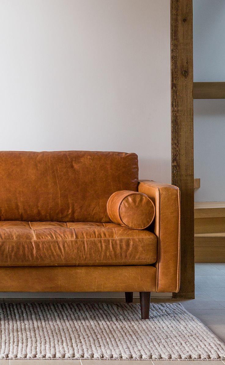 tan brown leather sofa - italian leather | article sven modern