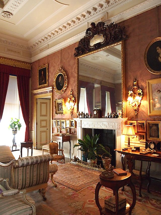 The Drawing Room at Kingston Lacy, Dorset. I love the large mirror ...