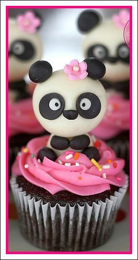 Panda Cupcakes With Cute Panda Pink Icing And Pink Flower