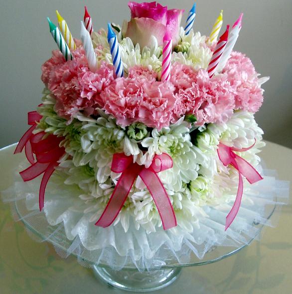 Birthday Cake Images And Flowers : birthday cake floral arrangement Birthday cake flowers ...