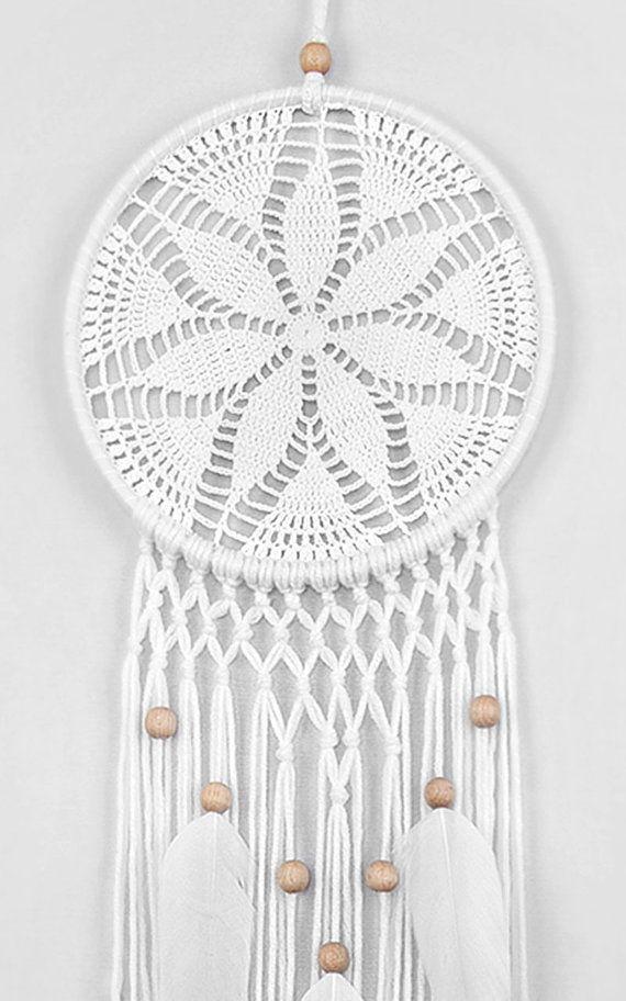 White Dream Catcher Crochet Doily Dreamcatcher white feathers boho ...