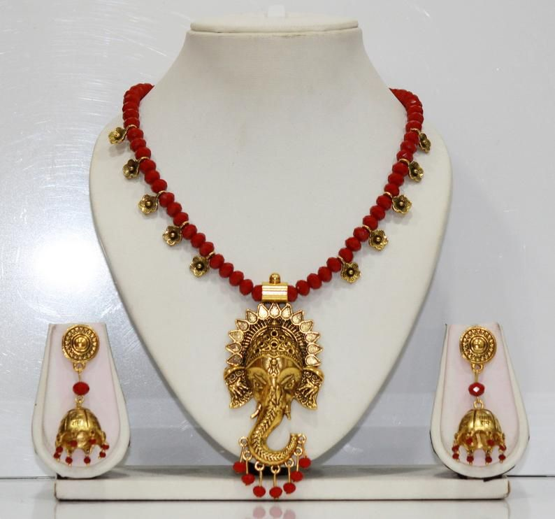 Antique Oxidized Maa Durga Pendant Necklace and Matching Earring Set Indian Jewelry Gift For Her Temple Jewelry Oxidized Jewelry
