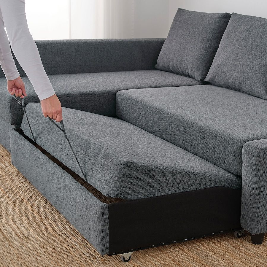 Friheten Sleeper Sectional 3 Seat W Storage Hyllie Dark Gray Ikea In 2020 Sofa Bed For Small Spaces Corner Sofa Bed With Storage Sofa Bed With Storage