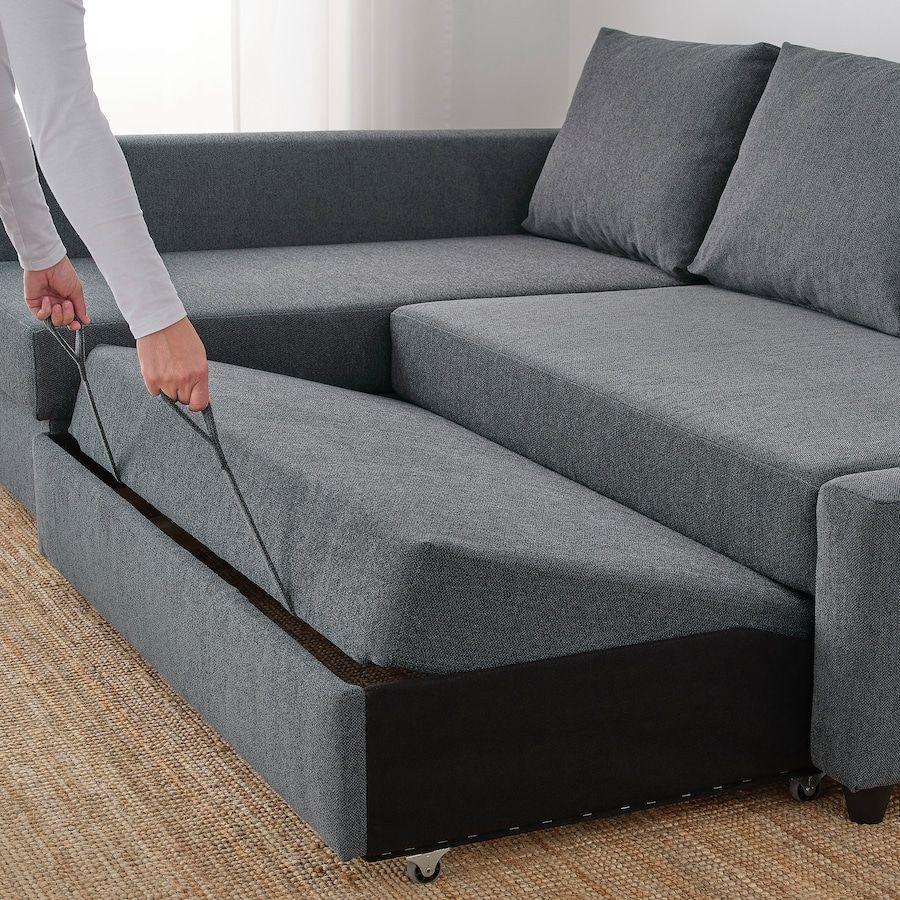 Friheten Sleeper Sectional 3 Seat W Storage Hyllie Dark Gray In