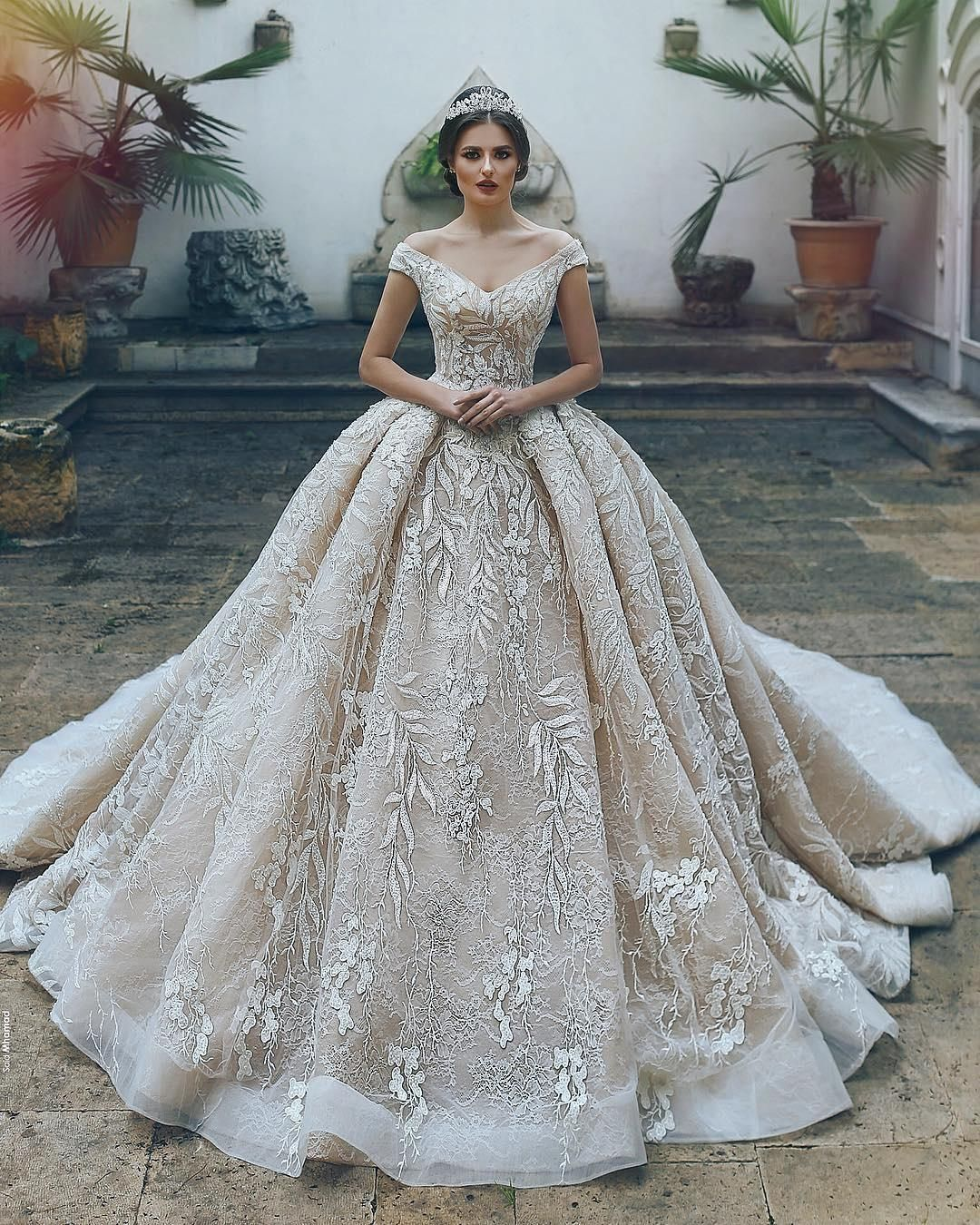 2fc57b17d9 Said Mhamad Off The Shoulder Full Lace Applique Wedding Dresses ...