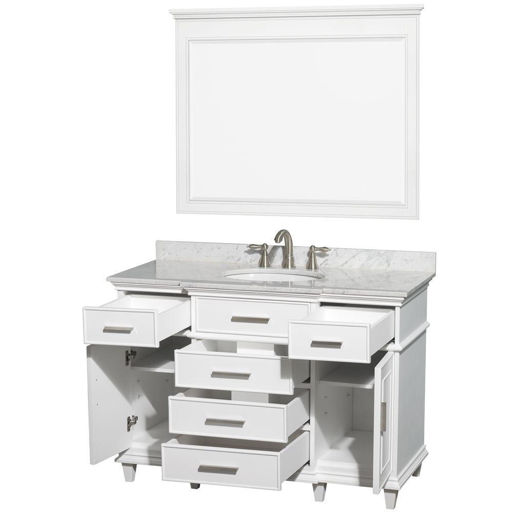 Wyndham Collection Berkeley 48 In Vanity In White With Marble Vanity Top In Carrara White Oval Sink And 44 In Mirror Marble Vanity Tops White Vanity Bathroom Single Sink Bathroom Vanity