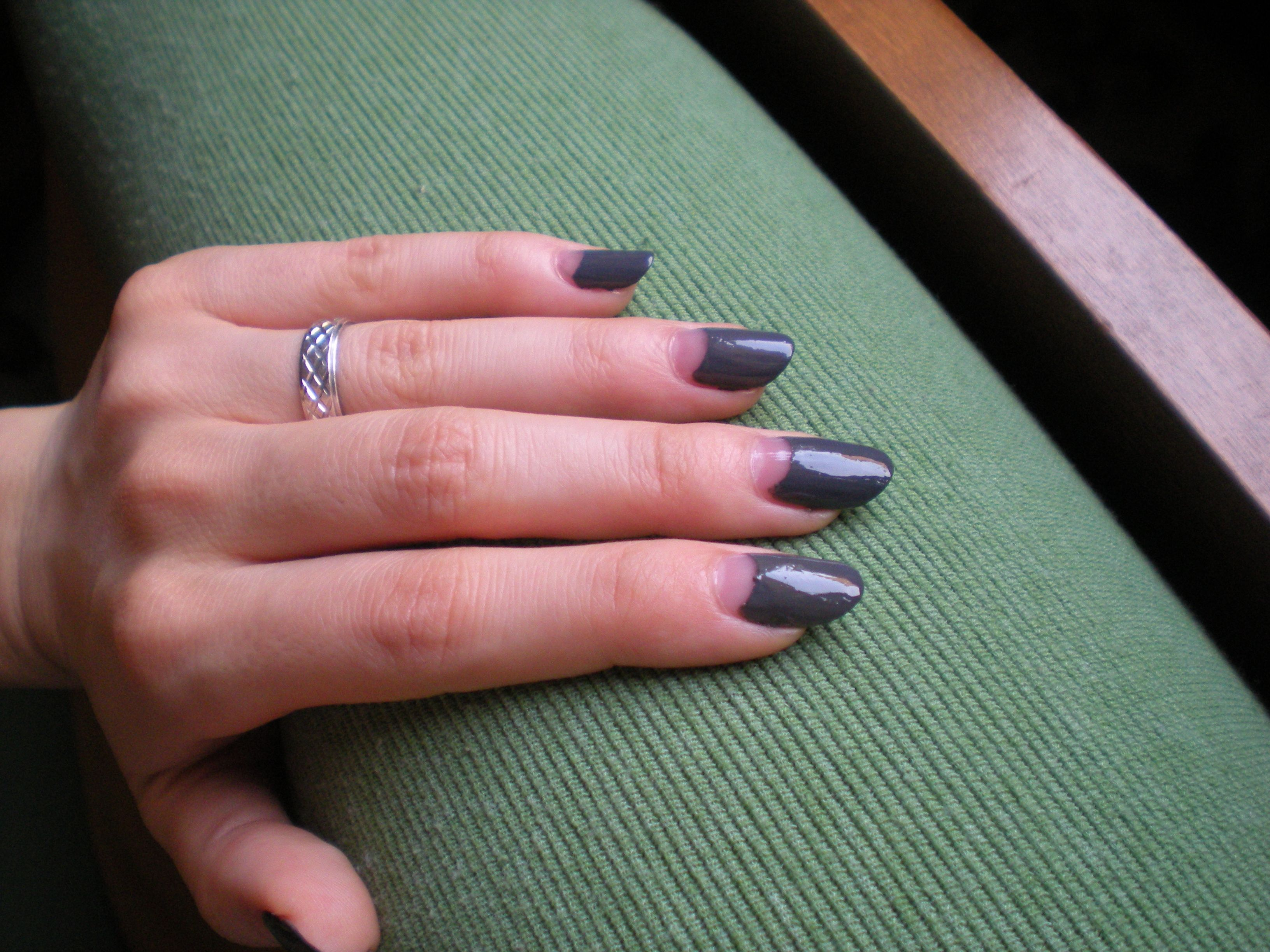 This is a perfect nail shape with reverse French manicure. Somewhere ...