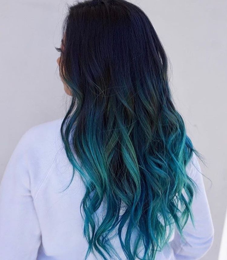 Wavy Navy Blue Hair Into A Cyan Aqua With Images Stylish Hair