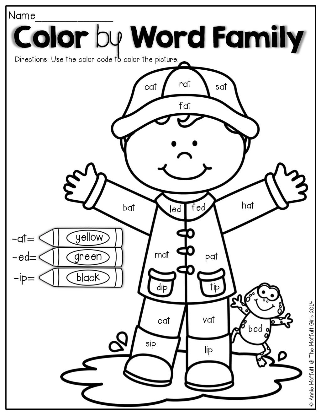 language arts coloring pages printable free | Color by Word Family! | KinderLand Collaborative ...