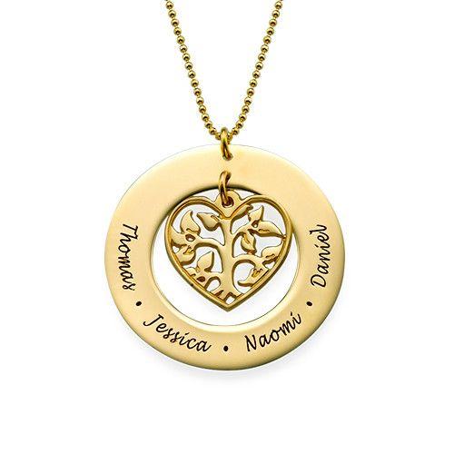 traición Dominante sonrojo  Collar Árbol de la Familia en Corazón chapado en Oro 18k en 2020 | Collar  para novia, Dije de oro y Fotografía de joyería