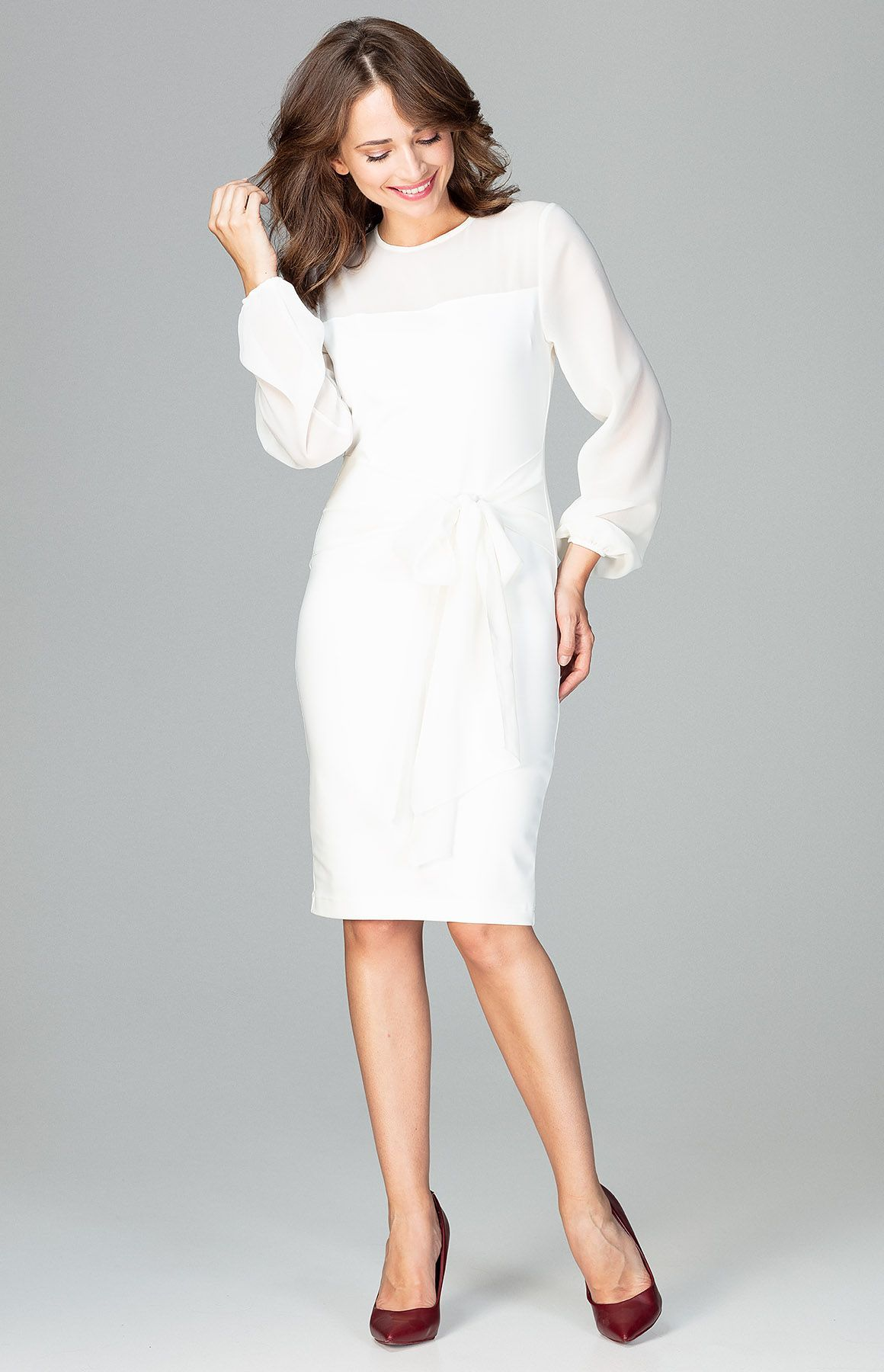 47131230b39 Robe droite habillée écru