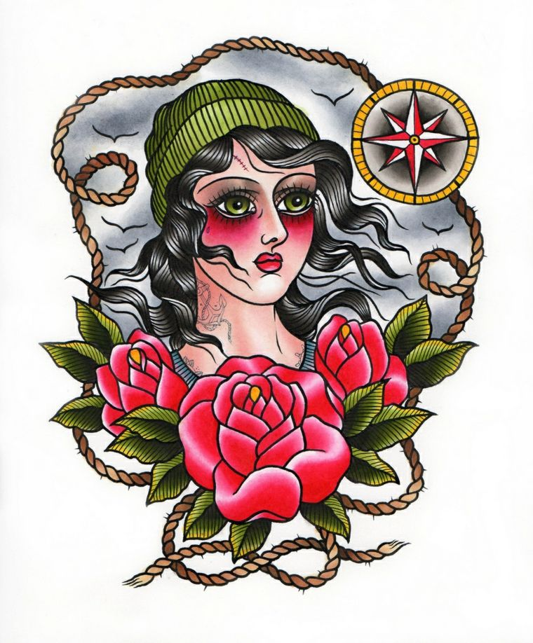 Tattoo Old School Il Disegno Di Una Donna Con Tre Rose Rosse E Una