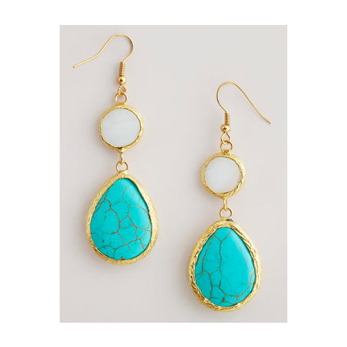 Turquoise Stone Double Drop Earrings It At Fluentinfrolicking