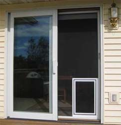 Sliding Screen Doors With Pet Door Photo Installed