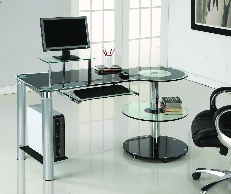 Black Glass Chrome Modern Executive Desk Black