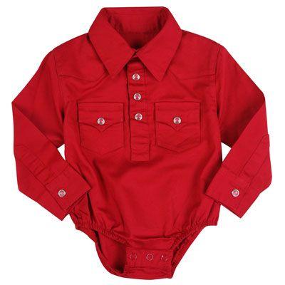Wrangler All Around Baby Red Western Shirt Onesies Baby