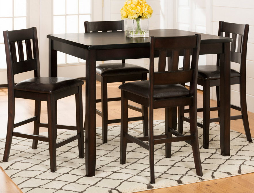 15++ Mainstays 5 piece counter height dining set black Top