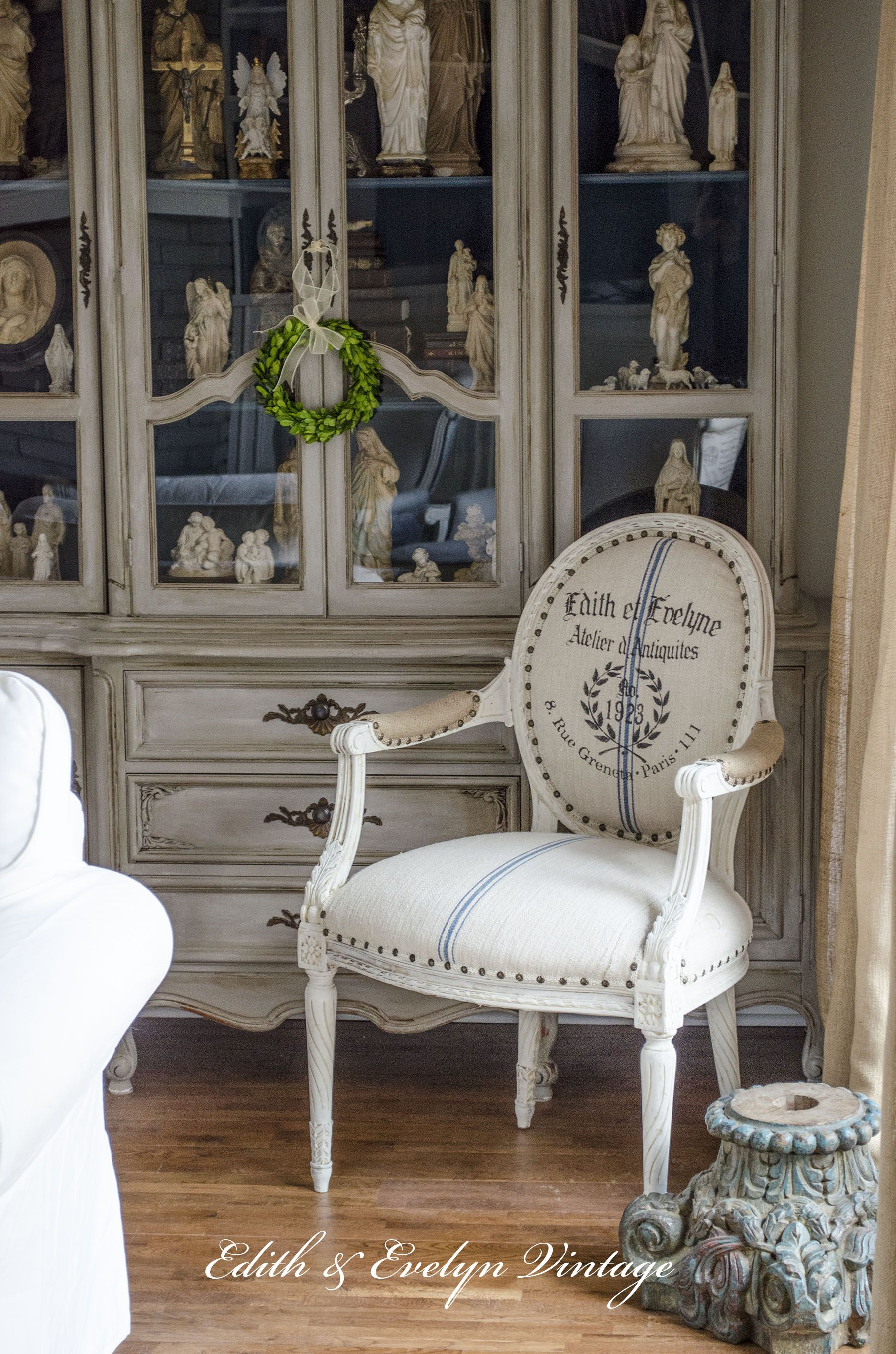 Country French Chairs Upholstered Babies R Us A Chair Grain Sack And Stencil Dreamy Furniture