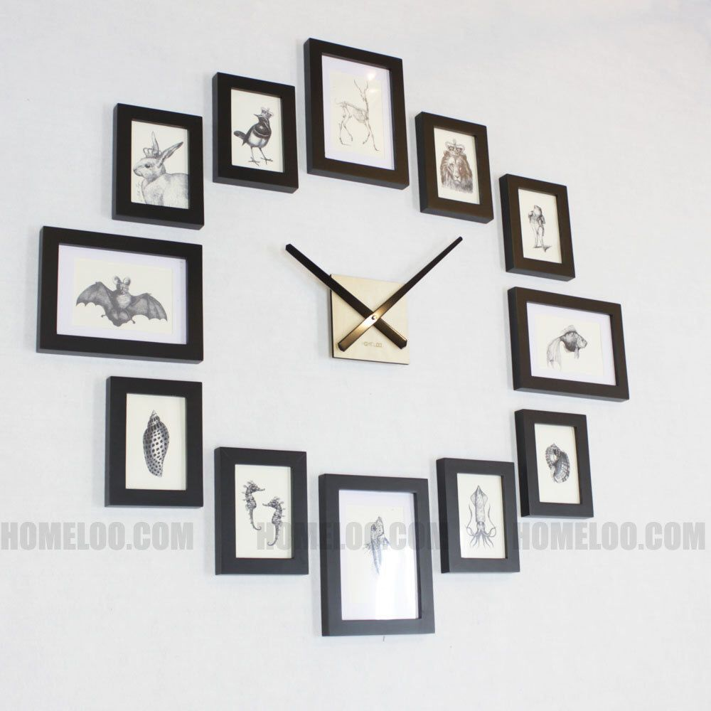 Photo Picture Frame Wall Clock Modern 12 Black With Images Wall Clock With Pictures Frames On Wall Diy Clock Wall