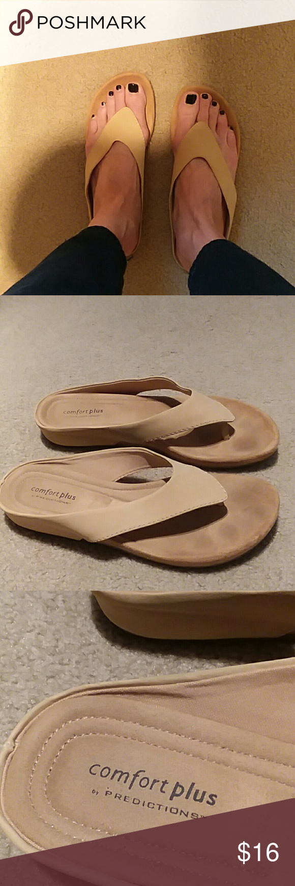 predictions sandals in tan. Size 9.5